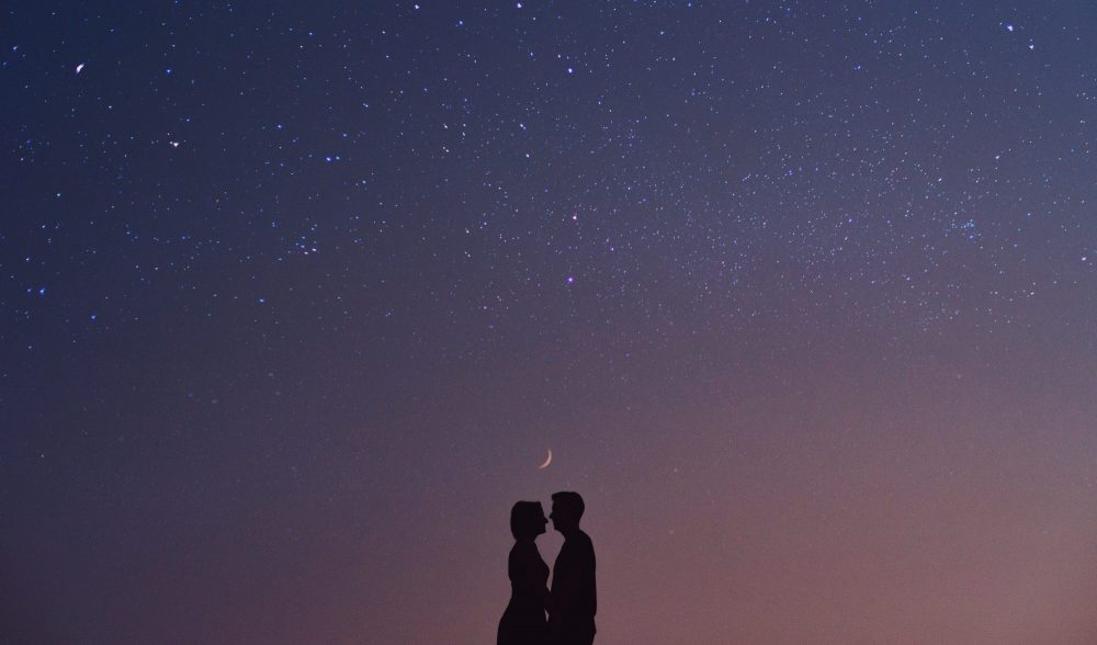 Cute Couple silhouette with Starry Night