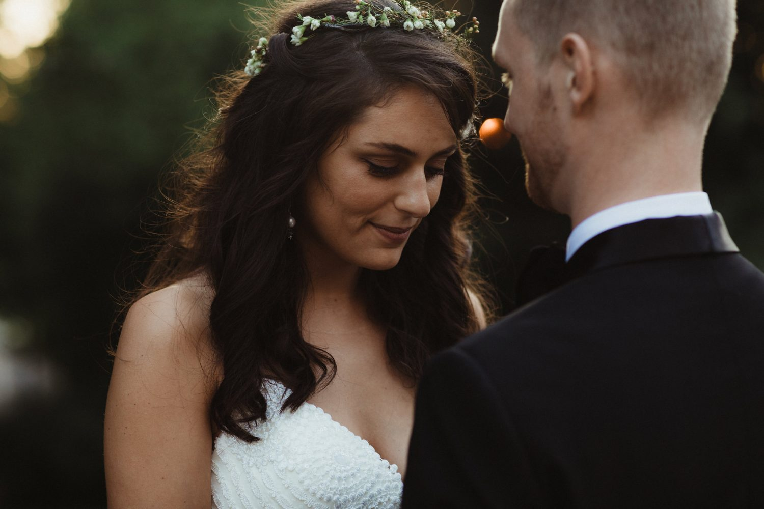 intimate moment with bride and groom